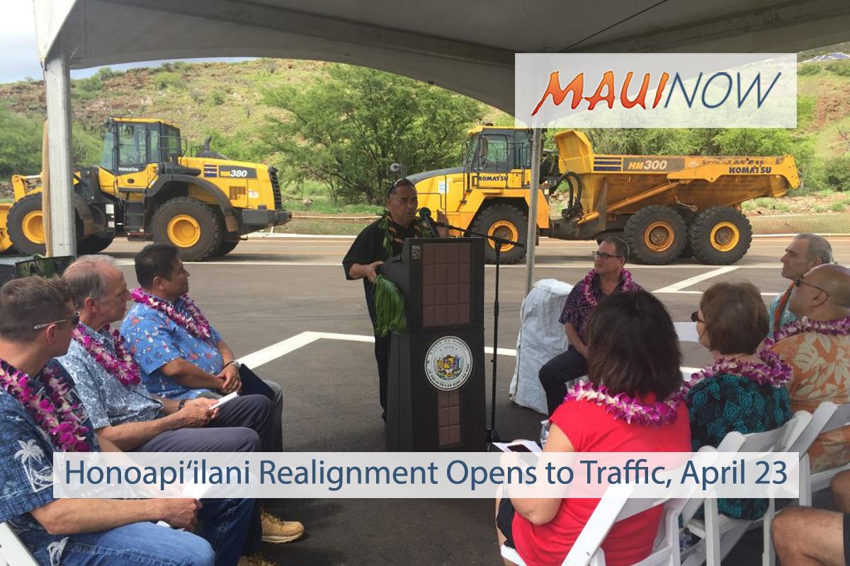 Honoapi'ilani Realignment Opens to Traffic on April 23