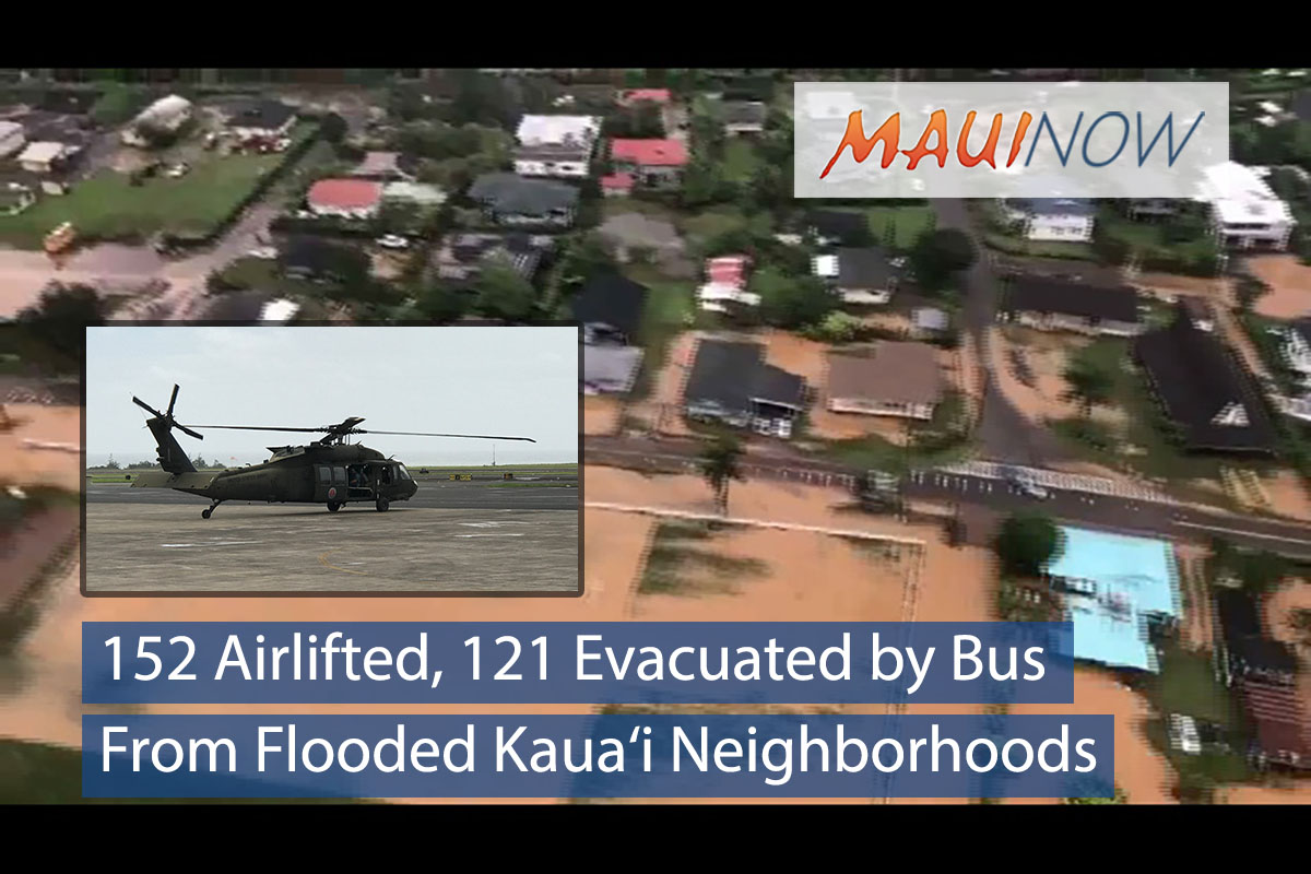 152 Airlifted, 121 Evacuated by Bus From Flooded Kaua'i Neighborhoods