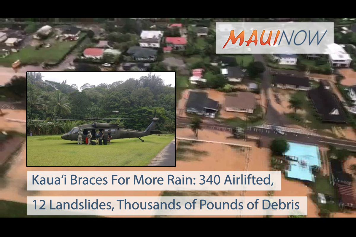 Kaua'i Braces For More Rain: 340 Airlifted, 12 Landslides, Thousands of Pounds of Debris