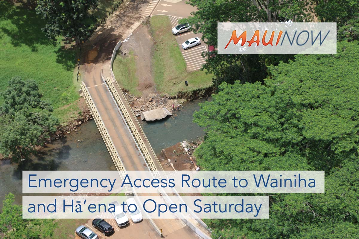 Emergency Access Route to Wainiha and Hā'ena to Open Saturday