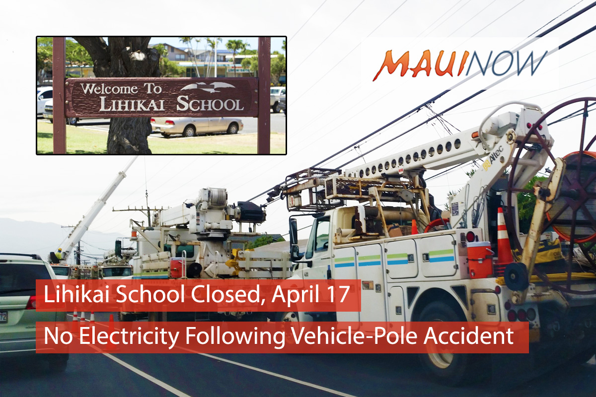 Lihikai Elementary Closed, No Electricity Following Vehicle-Pole Accident