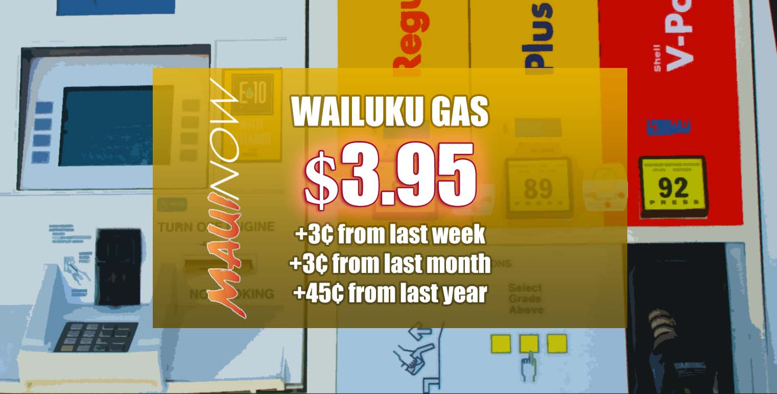 Maui Gas is 45 cents Higher than Same Time Last Year