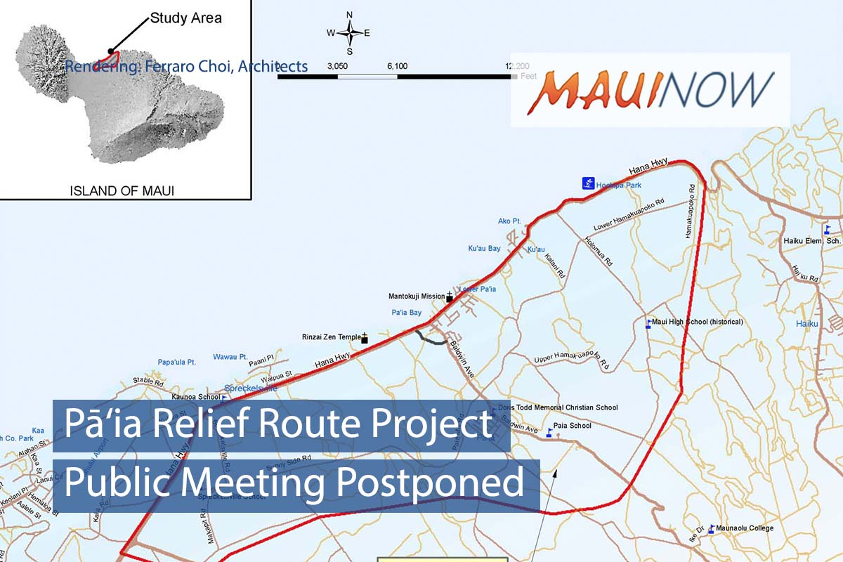 Pā'ia Relief Route Project Public Meeting Postponed