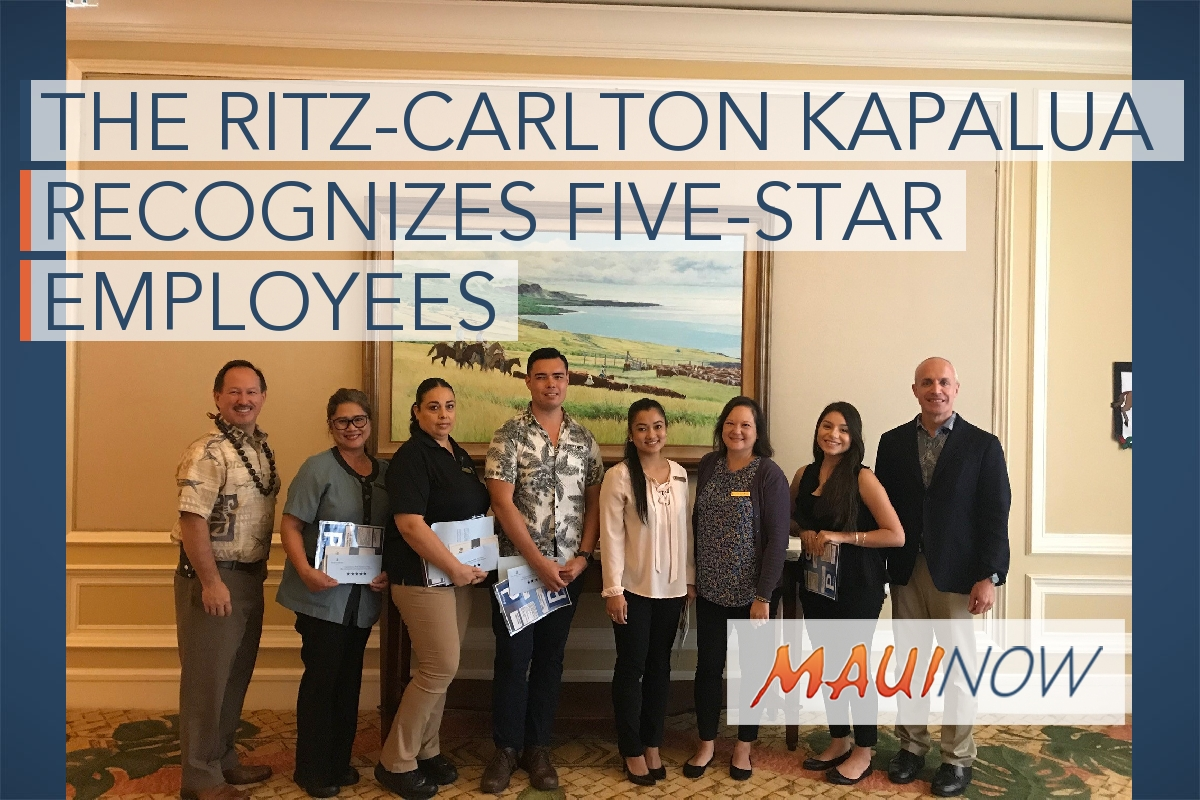 The Ritz-Carlton Kapalua Recognizes Five-Star Employees