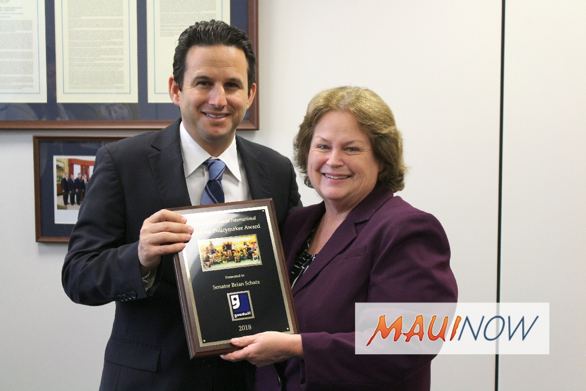 Sen. Schatz Honored by Goodwill in Washington D.C.