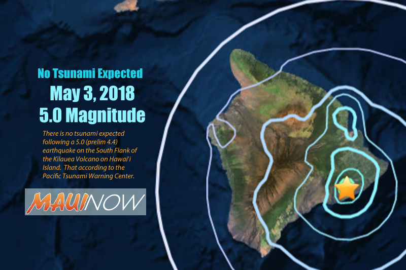 No Tsunami: 5.0 Earthquake on South Flank of Kīlauea Volcano