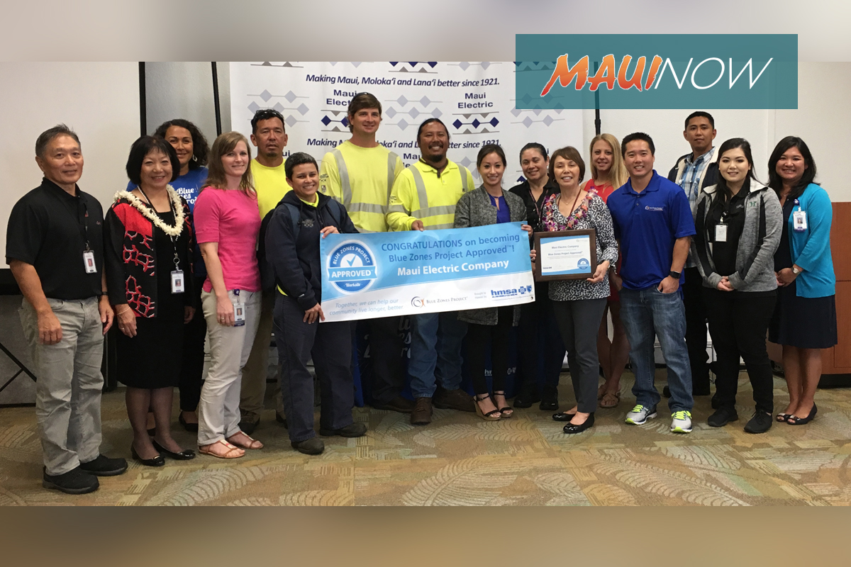 Maui Electric First Blue Zones Project Approved Business in Central Maui