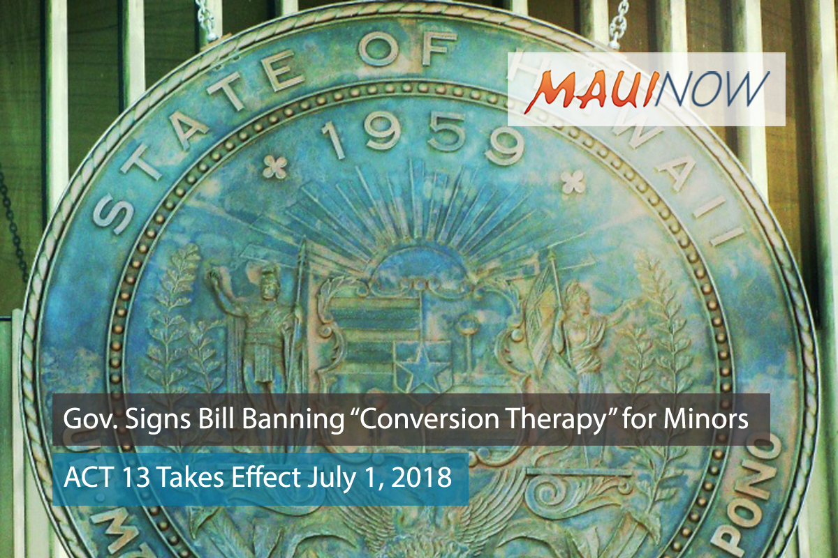 "Governor Signs Bill Banning ""Sexual Orientation Change Efforts"" for Minors"