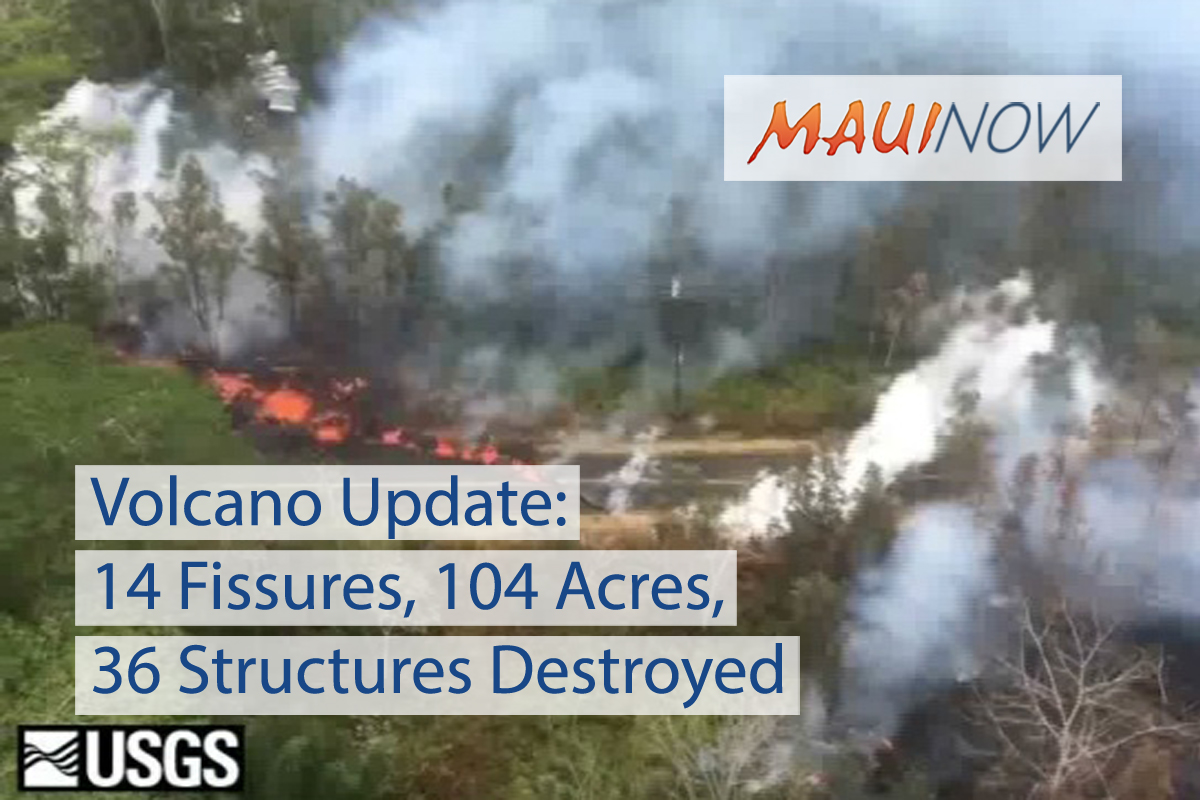 Volcano Update: 14 Fissures, 104 Acres Covered, 36 Structures Destroyed
