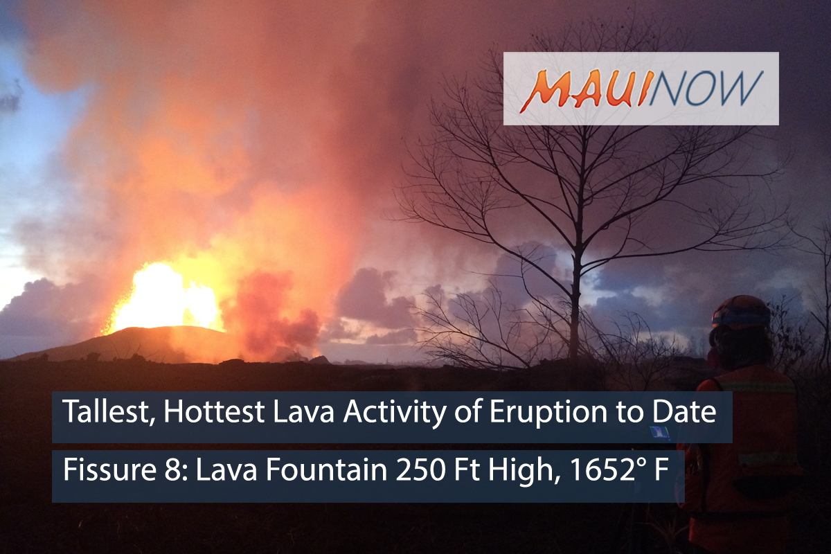 Tallest, Hottest Lava Activity of Eruption to Date