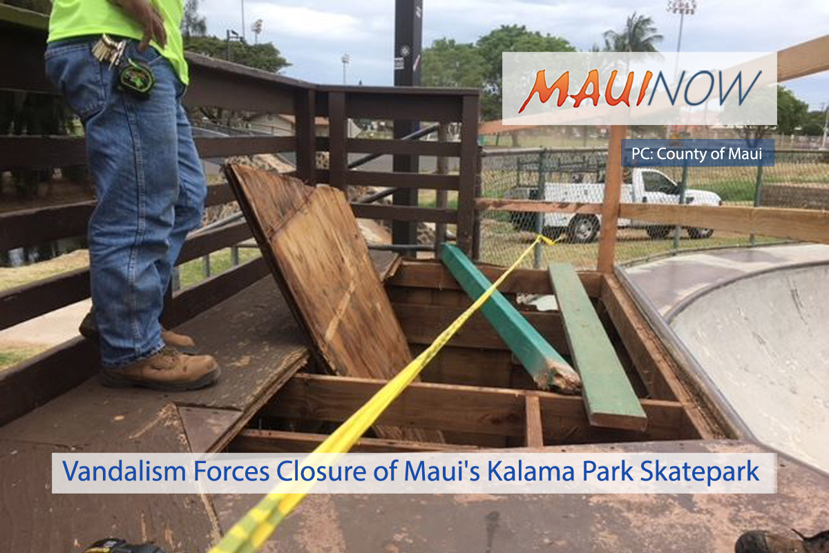 Vandalism Forces Closure of Maui's Kalama Park Skatepark
