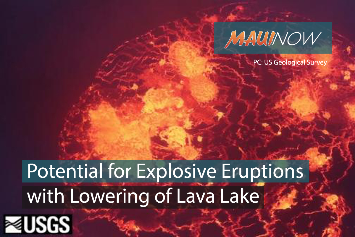 Lowering of Lava Lake Raises Potential for Explosive Eruptions