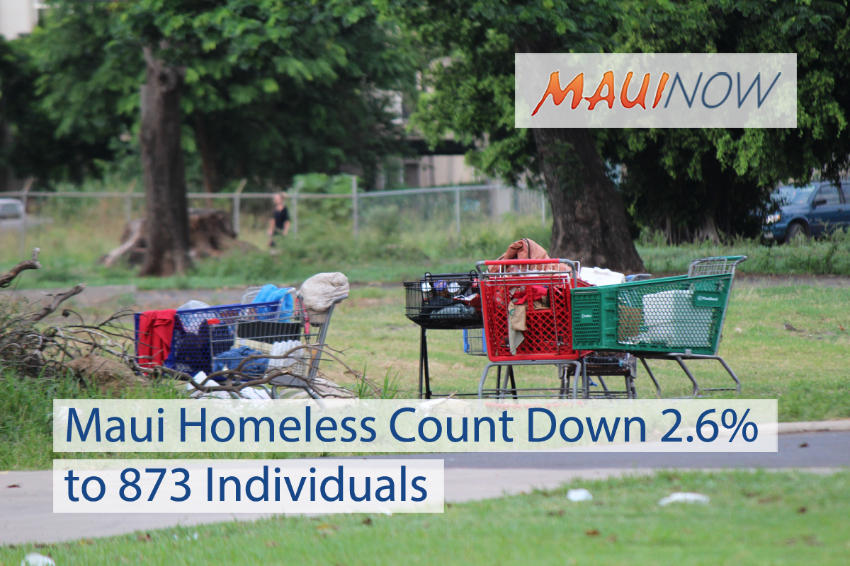 Maui Homeless Count Down 2.6% to 873 Individuals
