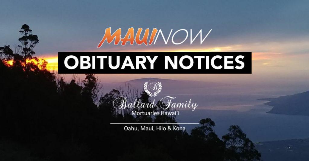 Maui Now: Maui Obituary Notices: Week of Jan. 19