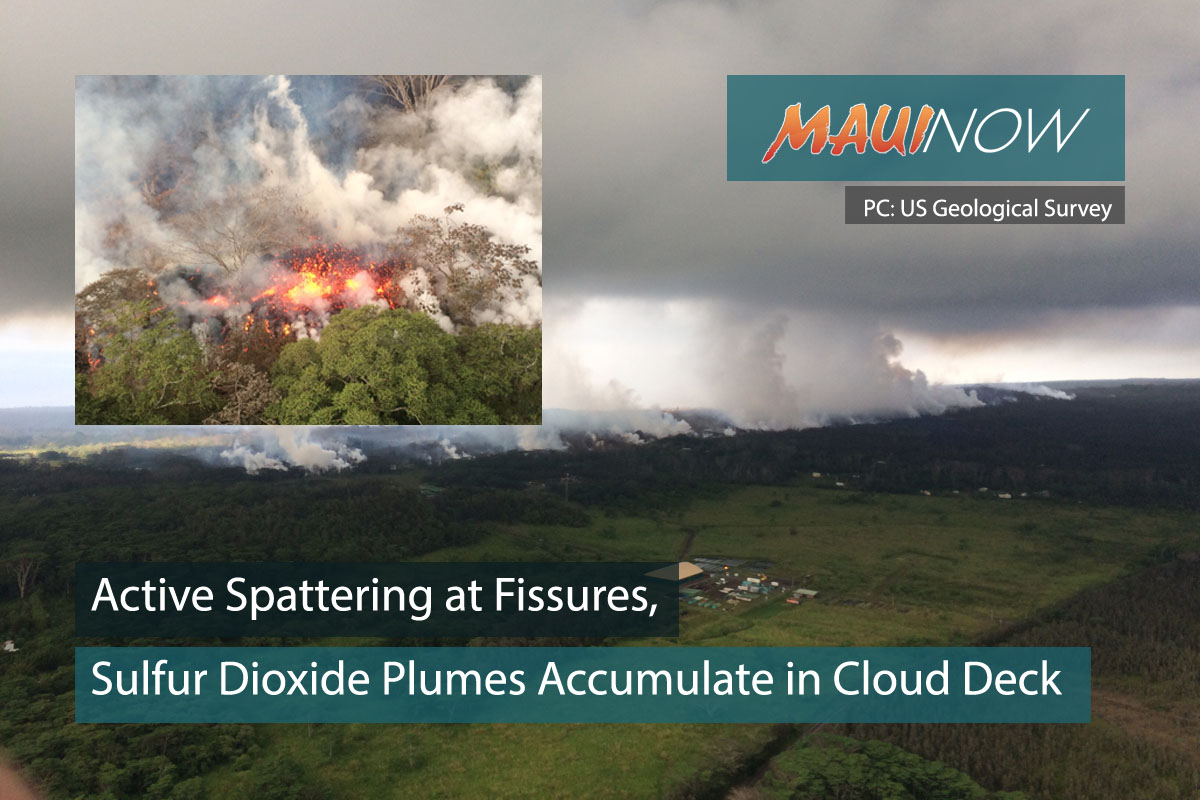 Active Spattering at Fissures, Sulfur Dioxide Plumes Accumulate in Cloud Deck