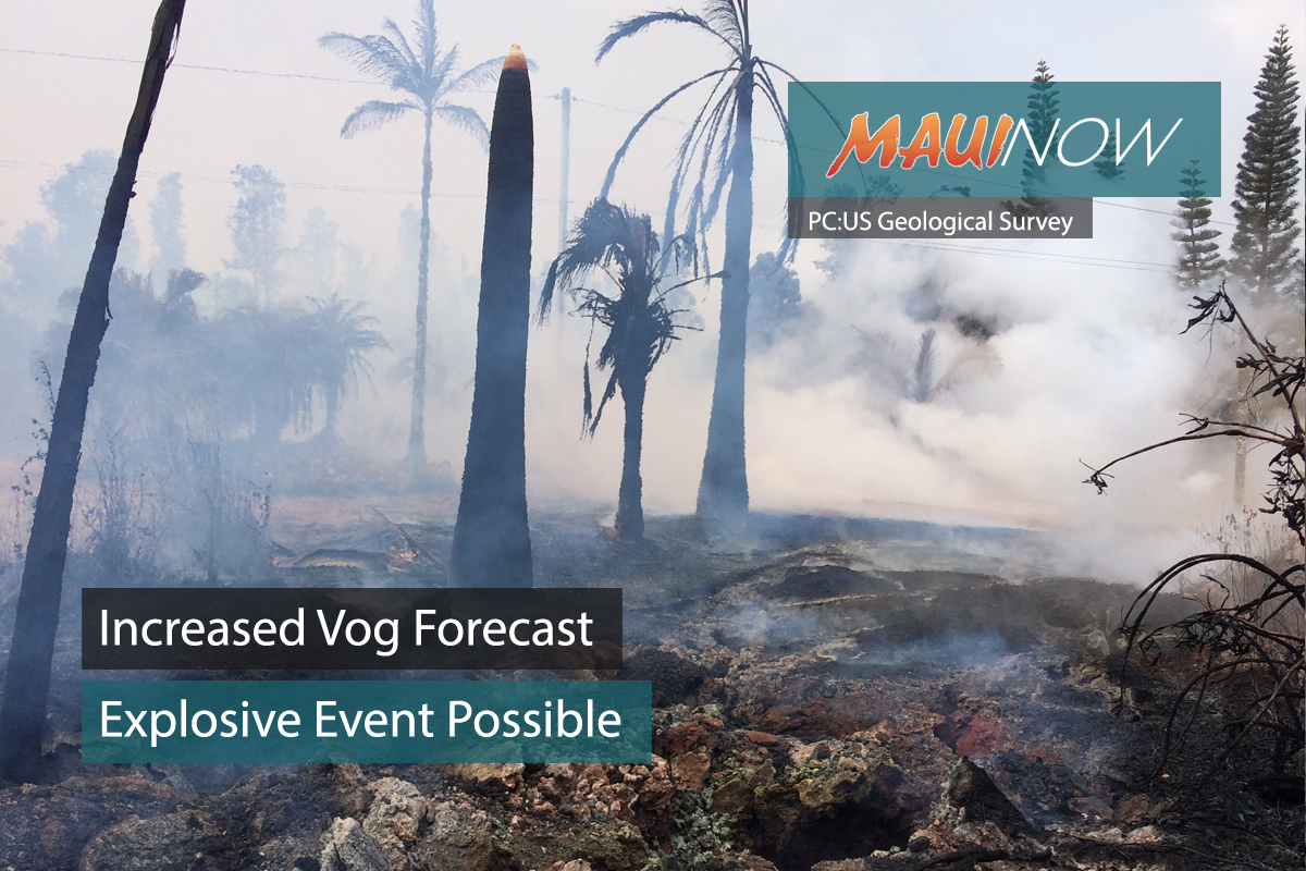 Increased Vog Forecast, Explosive Event Possible