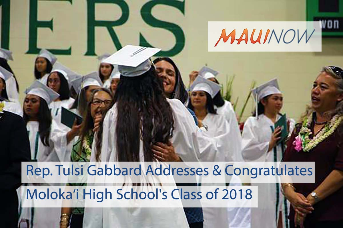 Rep. Gabbard Delivers Opening Address at Moloka'i HS Graduation
