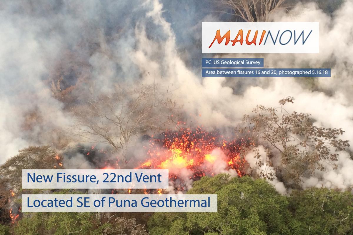 New Fissure, 22nd Vent Located SE of Puna Geothermal