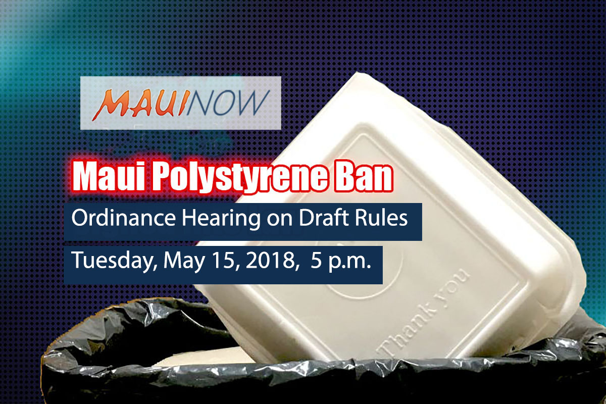 Draft Rules for Polystyrene Foam Ordinance Scheduled for Hearing