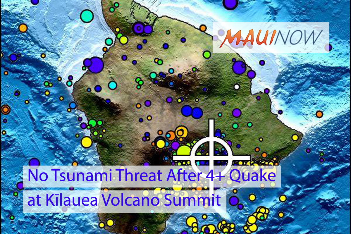 No Tsunami Threat After 4+ Quake at Kīlauea Volcano Summit