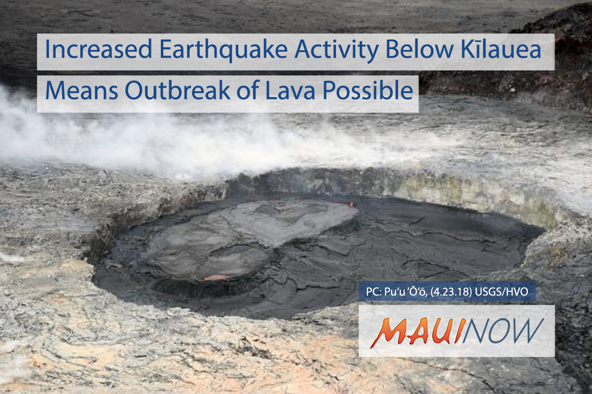 Increased Earthquake Activity Below Kīlauea Volcano Means Outbreak of Lava Possible