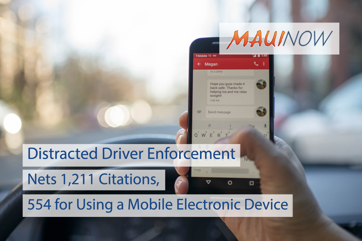 Maui Police Issue 1,211 Citations During Distracted Driver Enforcement