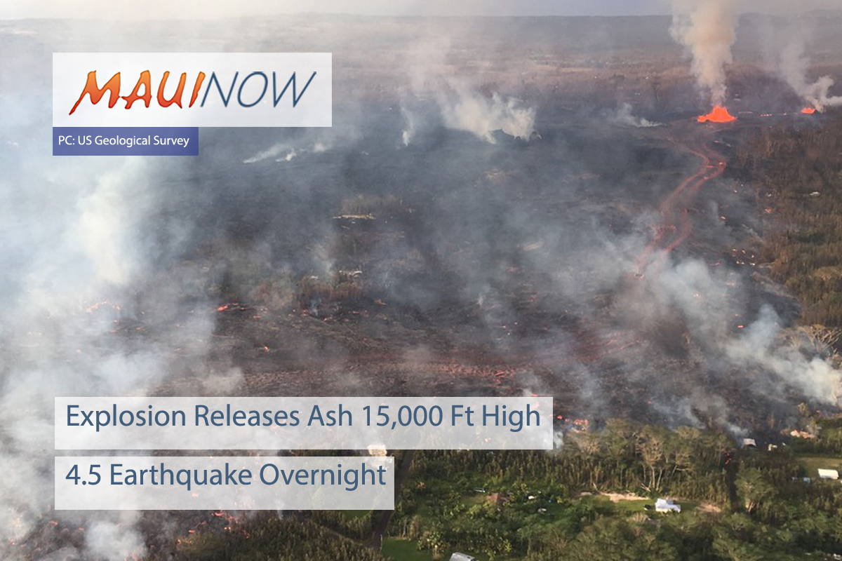 Volcano Update: Explosion Releases Ash 15,000 Ft High, 4.5 Earthquake Overnight