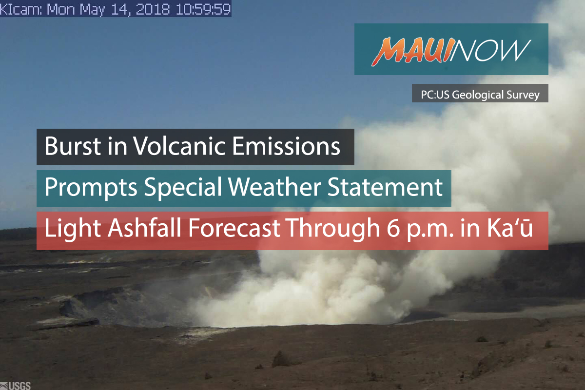 Burst in Volcanic Emissions Prompts Special Weather Statement