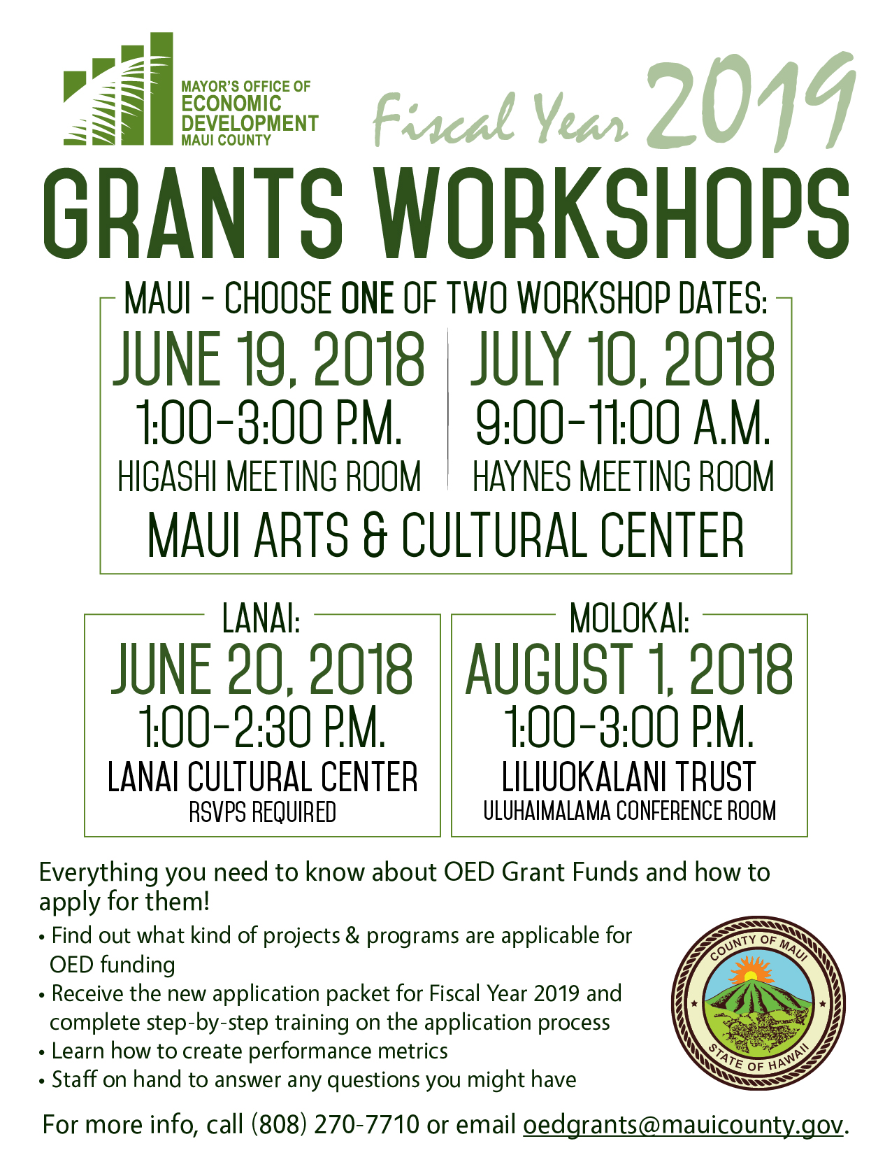 Office of Economic Development to Host Grant Workshop