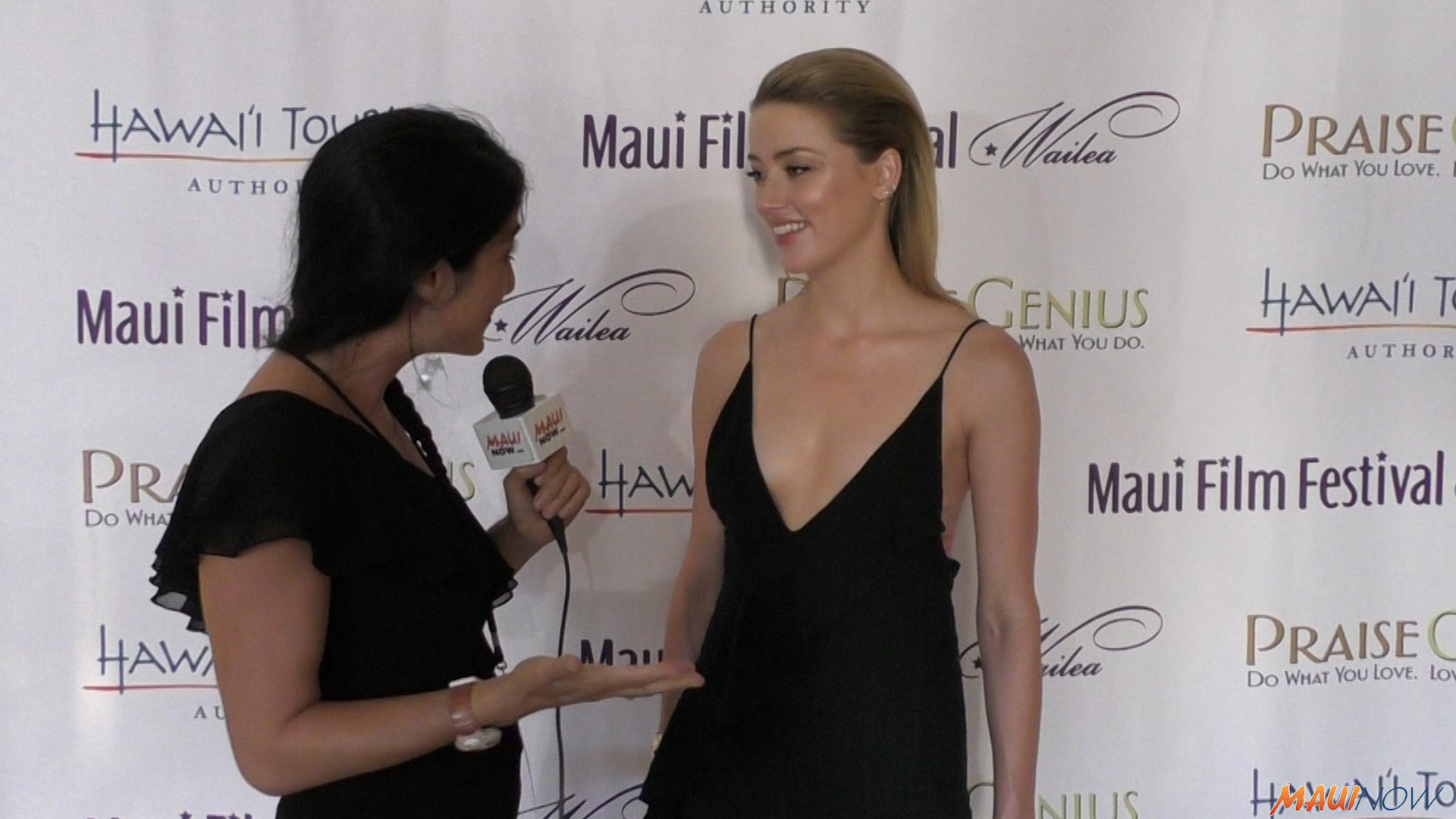 Amber Heard Reacts to her Shining Star Award at Maui Film Festival