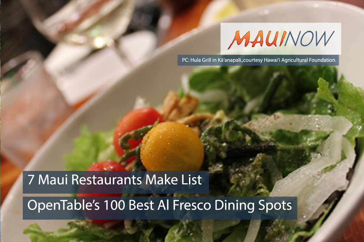 7 Maui Restaurants Make OpenTable's 100 Best Al Fresco Dining List