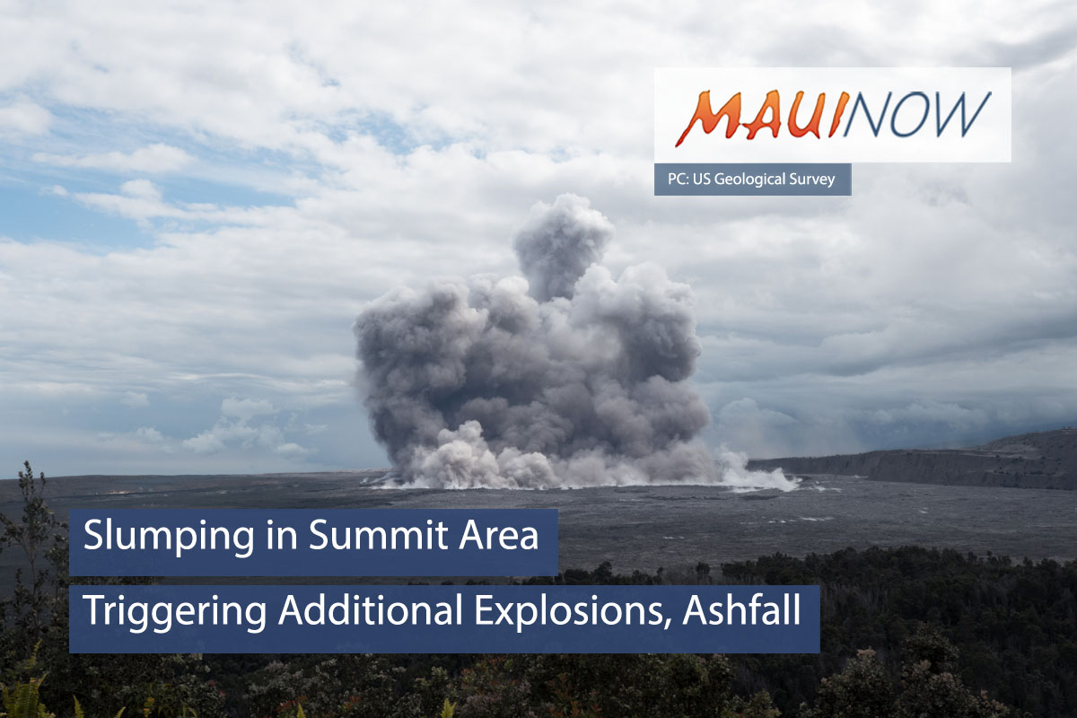 Slumping in Summit Area Triggering Additional Explosions, Ashfall