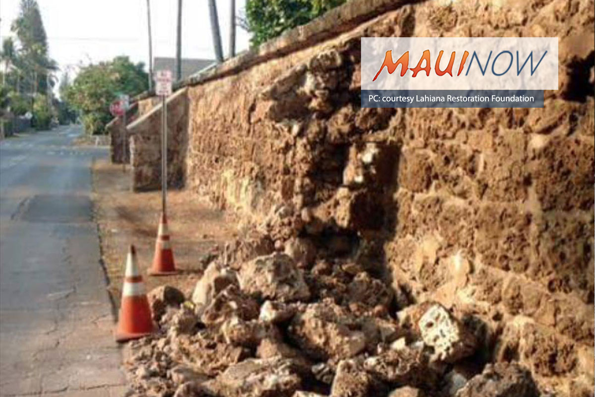 Old Lahaina Prison Wall Damaged in Hit-and-Run Accident