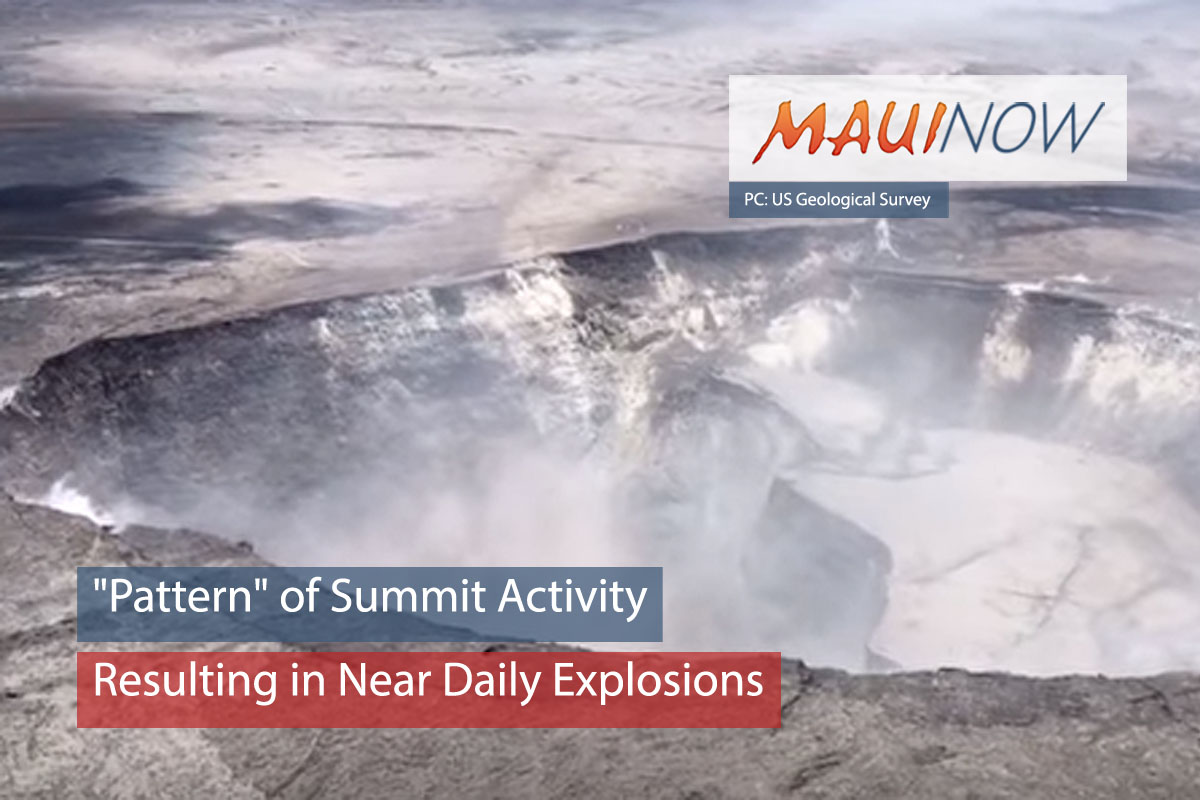 """Pattern"" of Summit Activity Resulting in Near Daily Explosions"