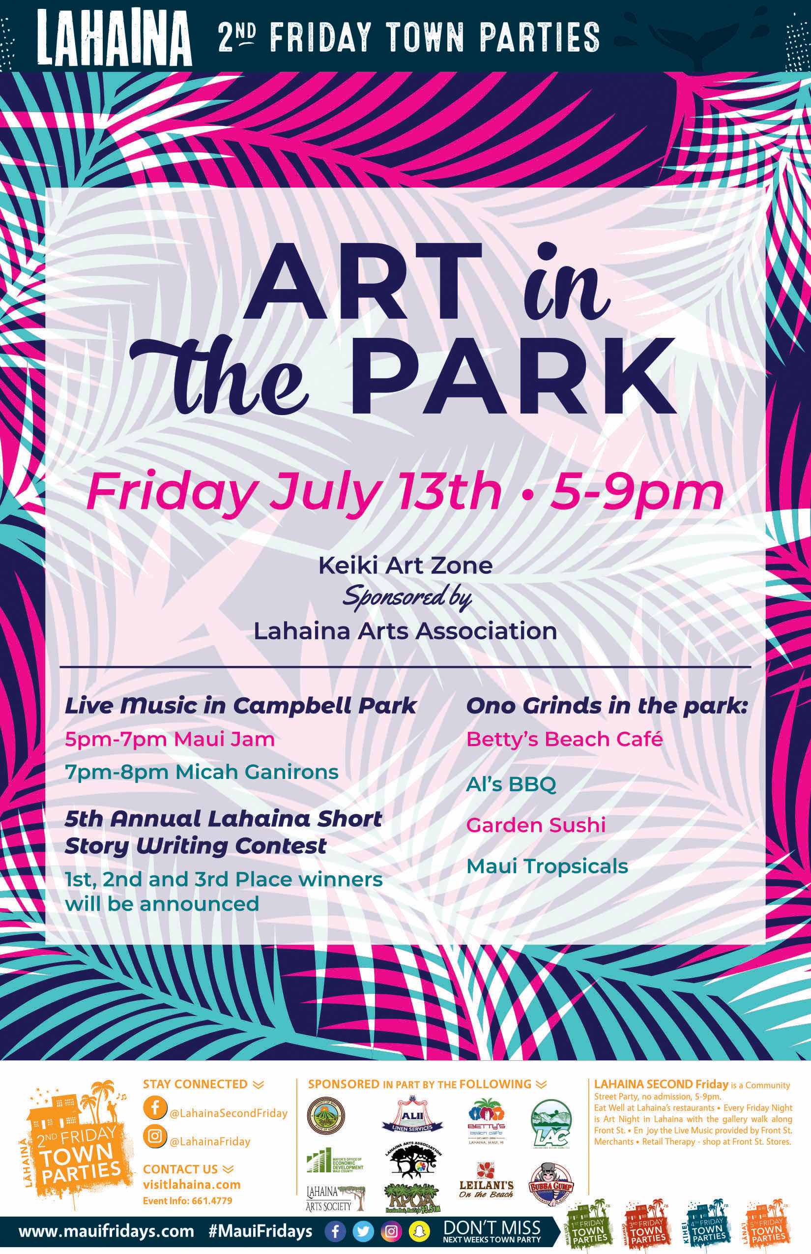 Art in the Park is July's Lahaina Town Party Theme