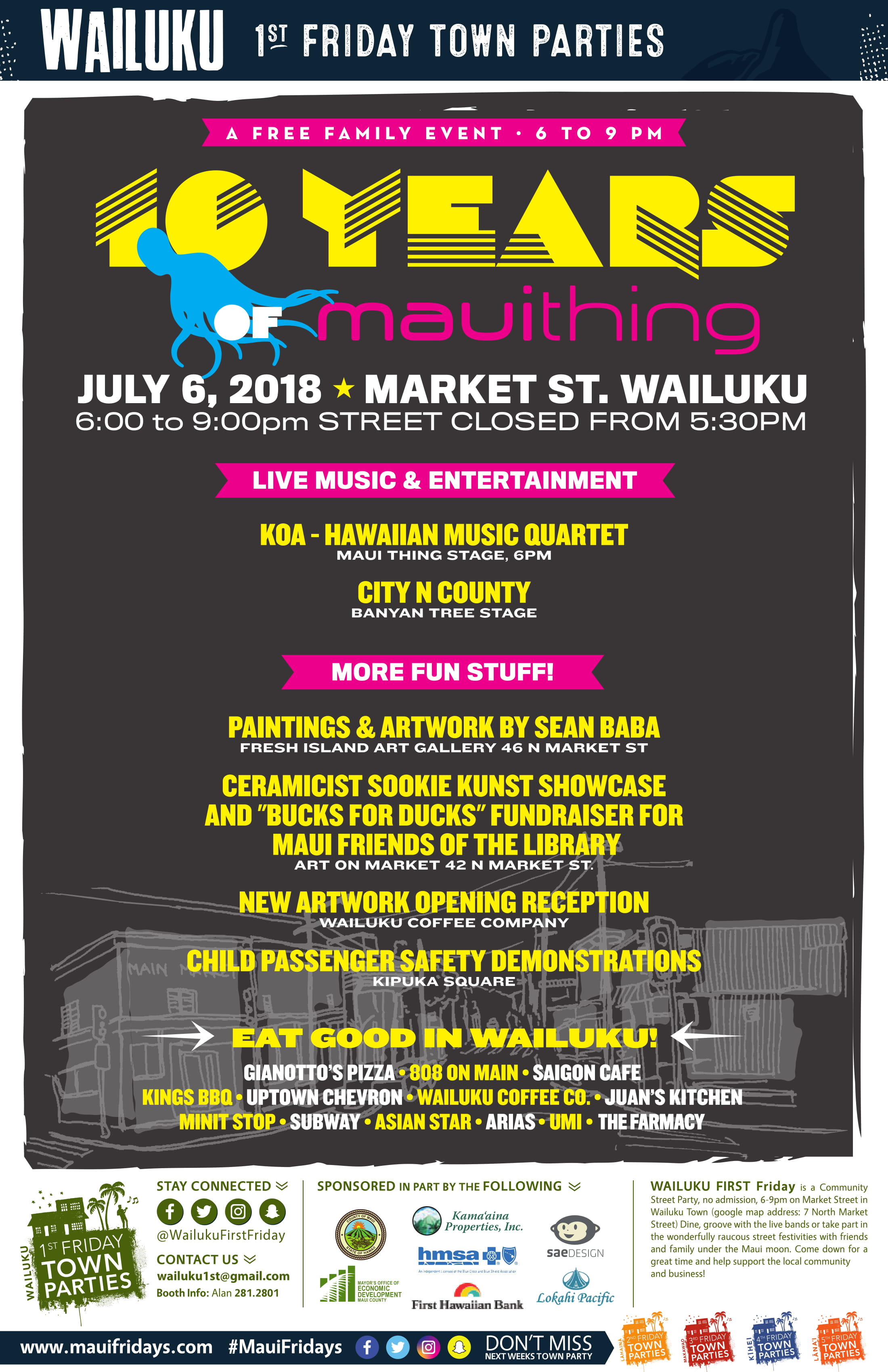 Wailuku First Friday July Line Up Announced