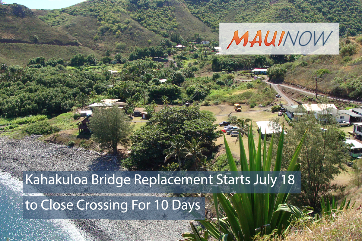 Kahakuloa Bridge Replacement to Close Crossing For 10 Days