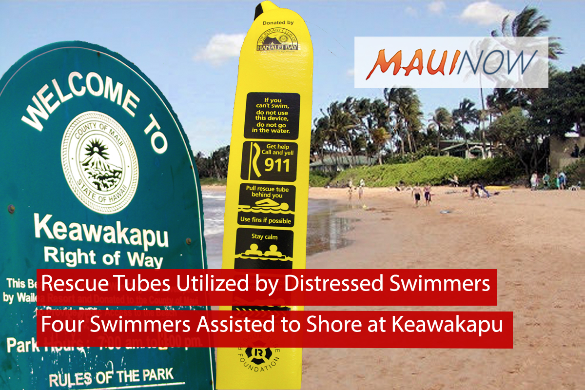 Rescue Tubes Utilized by Distressed Swimmers at Keawakapu