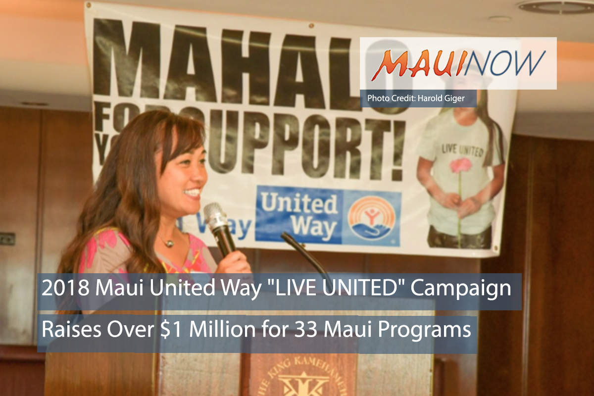 "2018 Maui United Way ""LIVE UNITED"" Campaign Raises Over $1 Million"