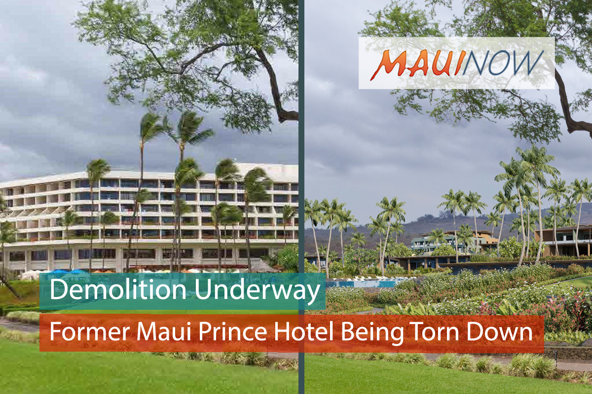 Demolition of Former Maui Prince Hotel Structure Underway