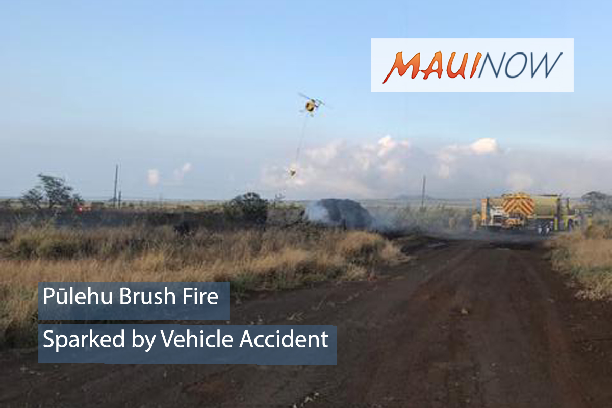 Pūlehu Brush Fire Sparked by Vehicle Accident