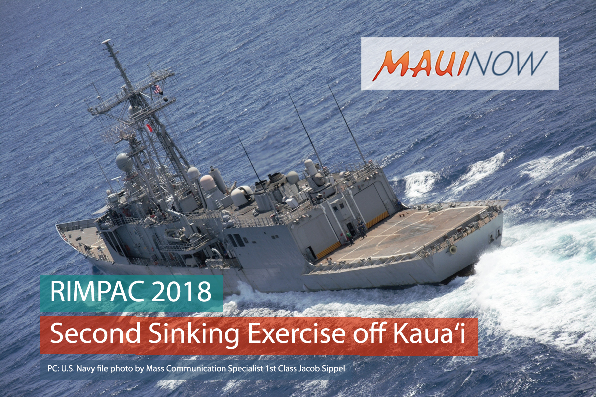 RIMPAC 2018 Participants Conduct Second Sinking Exercise off Kaua'i