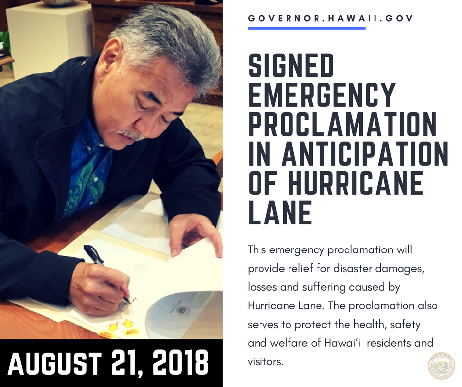 Governor Ige Signs Emergency Proclamation in Anticipation of Hurricane Lane