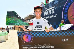 b2d45099c7 Maui surfer Cole Alves receiving first place award in Vans Pro Junior  competition. Photo Credit  World Surf League Ferguson