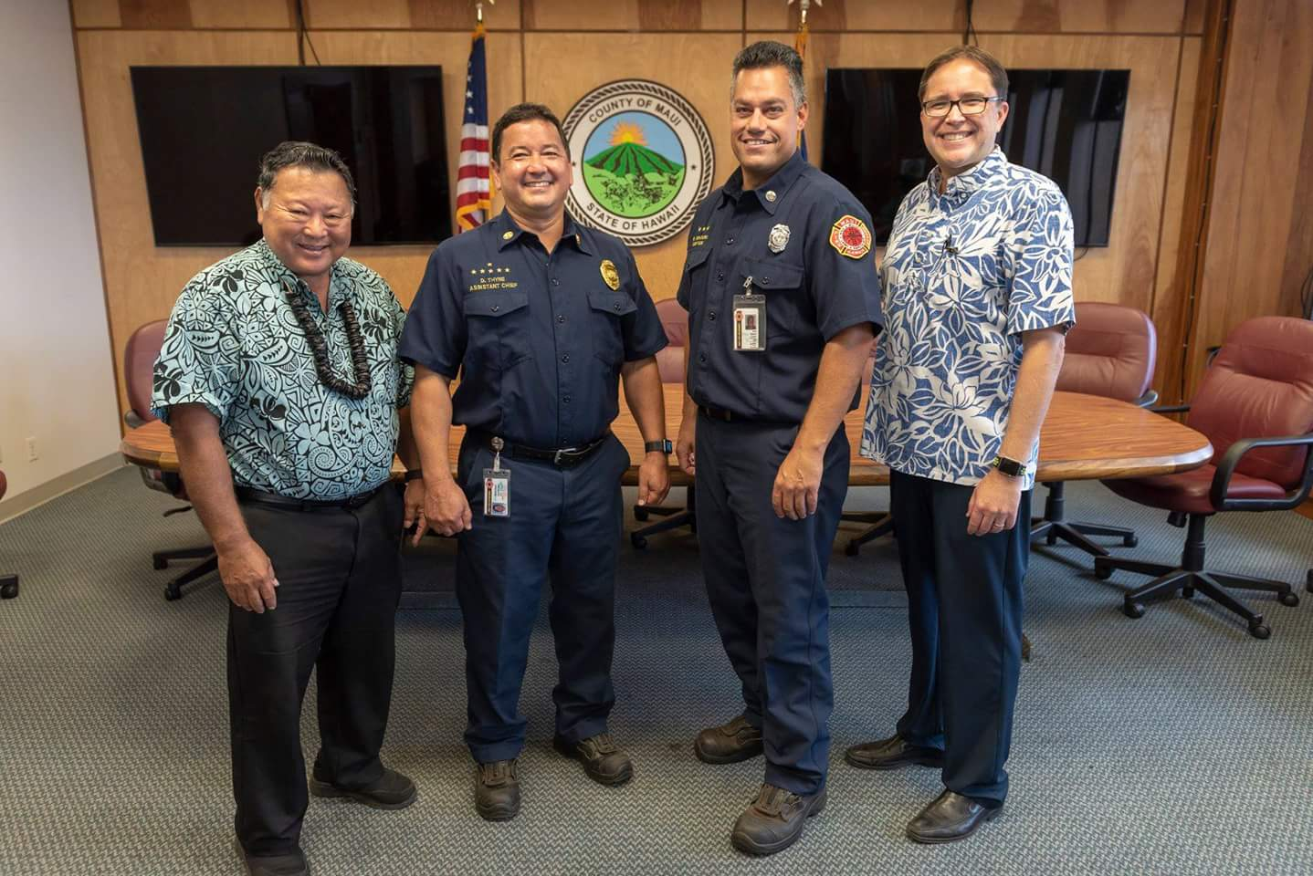 Thyne and Ventura Sworn in as Maui Fire Chief and Deputy