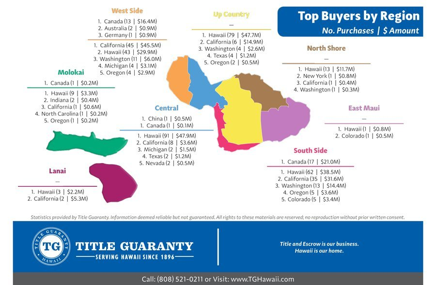 Maui Buyer Statistics: US and Foreign Buyers of Maui Real Estate Q1 2018