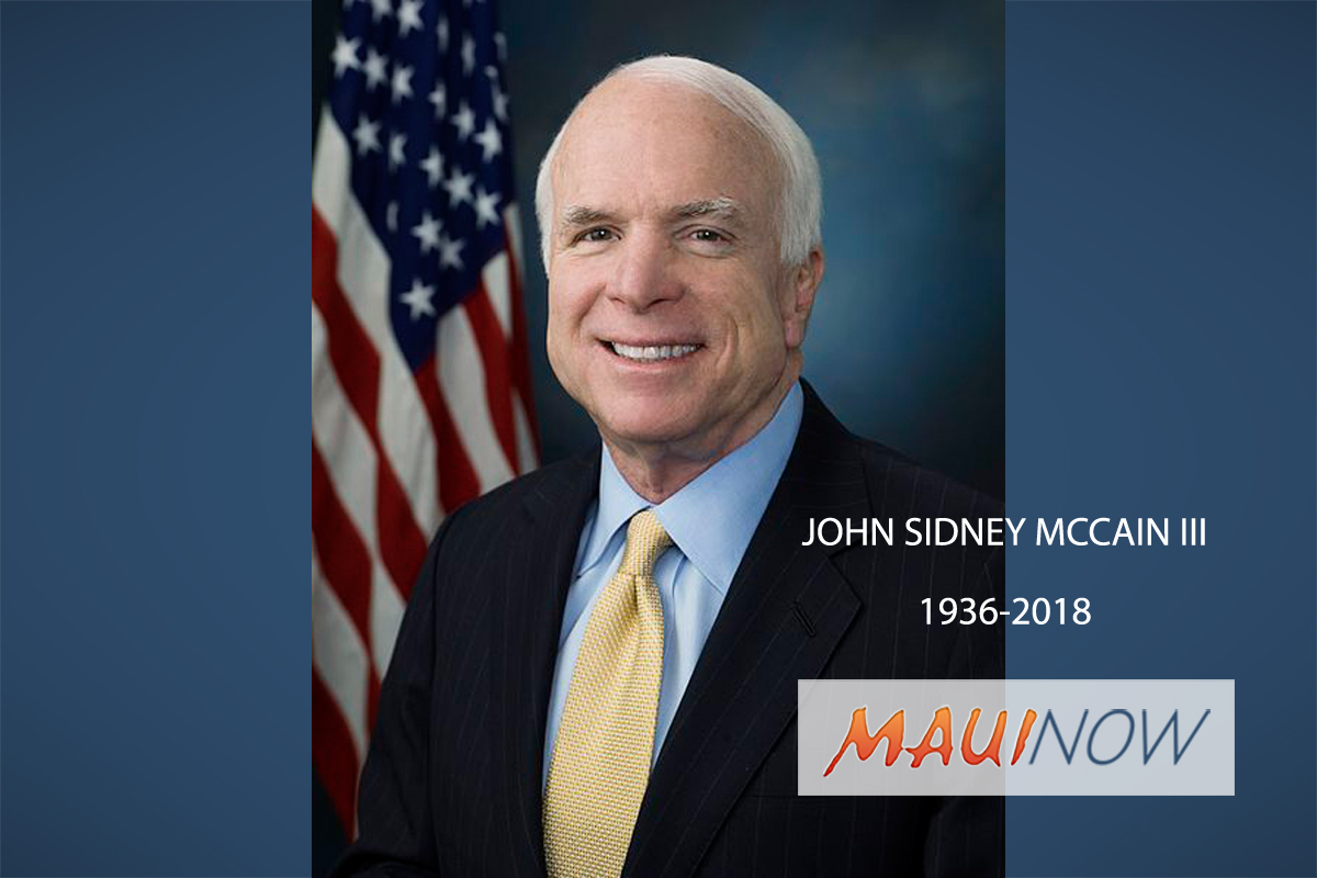 Flags to Fly at Half-Staff in Honor of Arizona Sen. John McCain