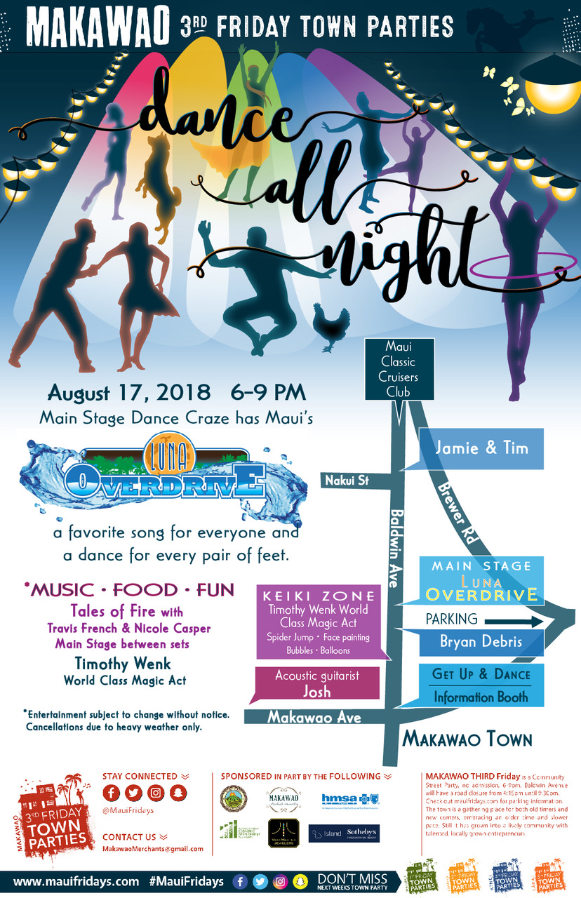 """Dance the Night Away"" at Makawao 3rd Friday"