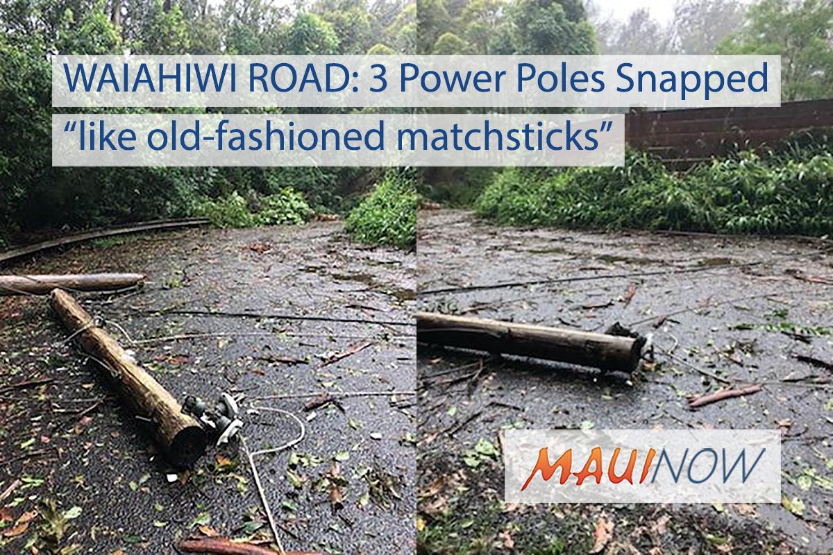 LANE Winds Snap Three Utility Poles on Waiahiwi Road