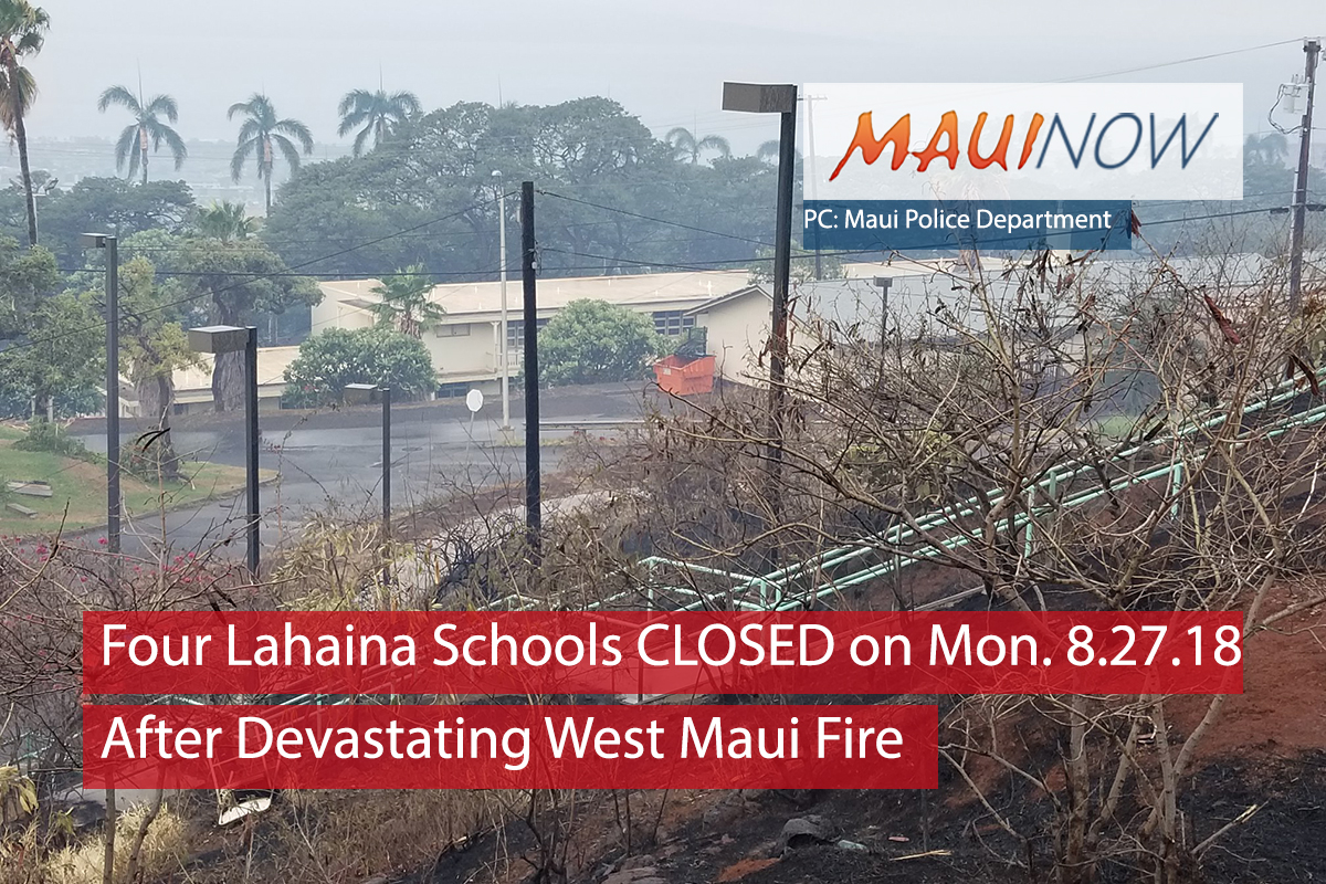 Four Lahaina Schools on Maui Closed on Monday, Aug. 27